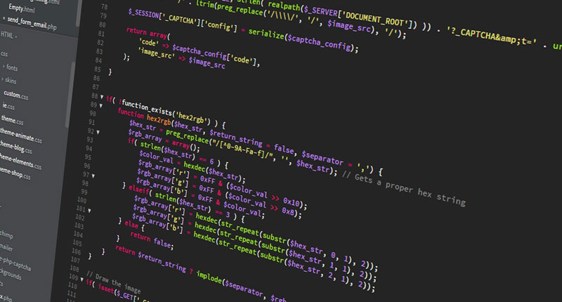 Screen of PHP code